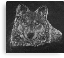 Lone Wolf Scratch Art Canvas Print