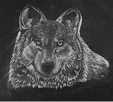 Lone Wolf Scratch Art Photographic Print