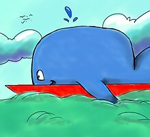 Surfing Whale by CassieLynnP