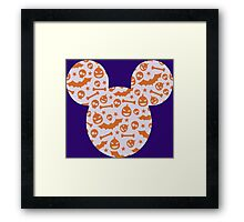 Halloween Spooky Pattern Mouse Silhouette Design Framed Print