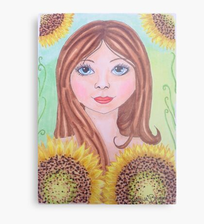 Lovely girl with sunflowers Metal Print