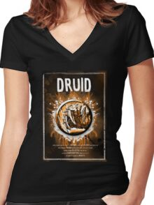 Druid Wow Women's Fitted V-Neck T-Shirt