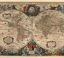 Vintage Map of The World (1641)  by BravuraMedia