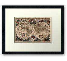 Vintage Map of The World (1641)  Framed Print