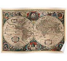 Vintage Map of The World (1641)  Poster