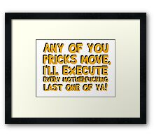 Quentin Tarantino Pulp Fiction Famous Popular Movie Quotes Film Cool Funny T-Shirts Framed Print