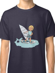 Smiling child rides on waves a board for windsurfing Classic T-Shirt