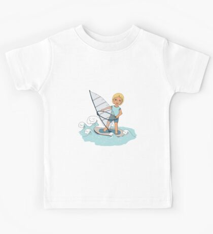 Smiling child rides on waves a board for windsurfing Kids Tee