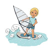 Smiling child rides on waves a board for windsurfing Photographic Print