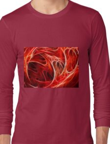 Abstract fractal red graphic Long Sleeve T-Shirt