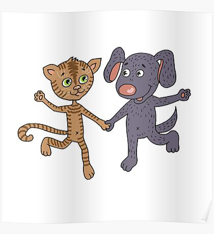 Cute and funny kitten and puppy  Poster