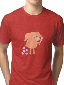 Sad pig with a flower in a hand Tri-blend T-Shirt