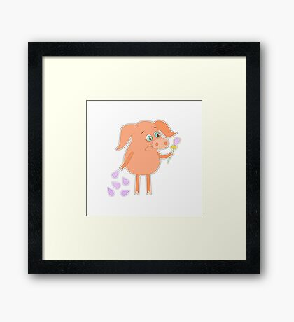 Sad pig with a flower in a hand Framed Print