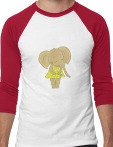 Cute elephant girl Men's Baseball ¾ T-Shirt