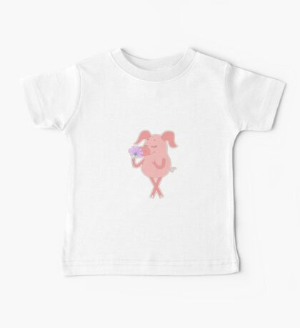 Happy piglet with a flower in a hand Baby Tee
