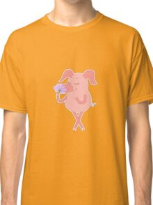Happy piglet with a flower in a hand Classic T-Shirt