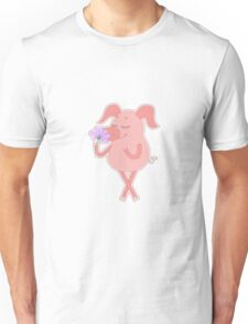 Happy piglet with a flower in a hand Unisex T-Shirt