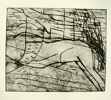 untitled drypoint etching done today by donna malone