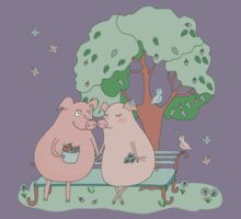 Couple of cute pigs sitting on a bench under a tree Kids Tee