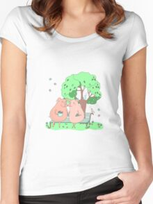 Couple of cute pigs sitting on a bench under a tree Women's Fitted Scoop T-Shirt
