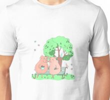 Couple of cute pigs sitting on a bench under a tree Unisex T-Shirt