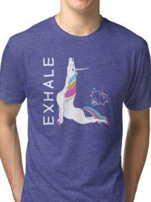 Yoga Unicorn - EXHALE Tri-blend T-Shirt