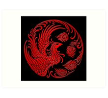 Traditional Red Chinese Phoenix Circle Art Print