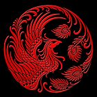 Traditional Red Chinese Phoenix Circle by Jeff Bartels