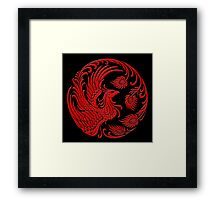 Traditional Red Chinese Phoenix Circle Framed Print