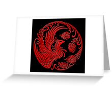 Traditional Red Chinese Phoenix Circle Greeting Card