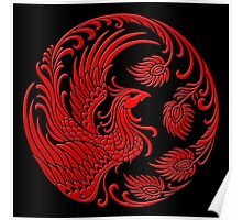 Traditional Red Chinese Phoenix Circle Poster