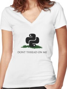 Python Snek - Don't Thread On Me Women's Fitted V-Neck T-Shirt