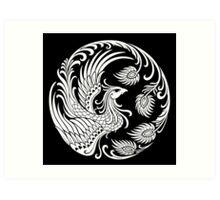 Traditional White Chinese Phoenix Circle Art Print