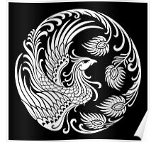 Traditional White Chinese Phoenix Circle Poster