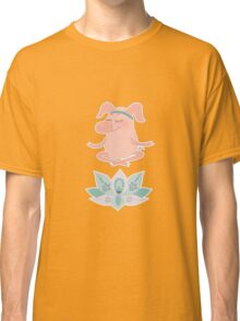 Cute happy pig blindly sits in a lotus pose, meditation Classic T-Shirt