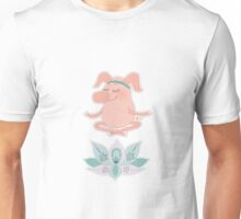 Cute happy pig blindly sits in a lotus pose, meditation Unisex T-Shirt