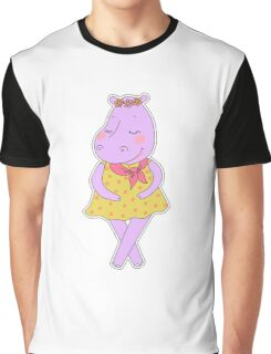 Cute hippopotamus in a dress in peas  Graphic T-Shirt