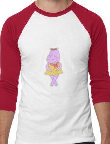 Cute hippopotamus in a dress in peas  Men's Baseball ¾ T-Shirt