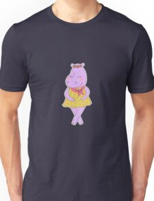 Cute hippopotamus in a dress in peas  Unisex T-Shirt