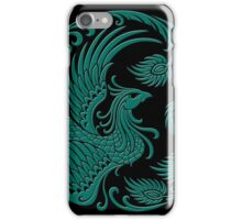 Traditional Teal Blue and Black Chinese Phoenix Circle iPhone Case/Skin