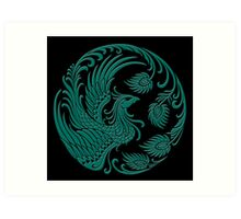Traditional Teal Blue and Black Chinese Phoenix Circle Art Print