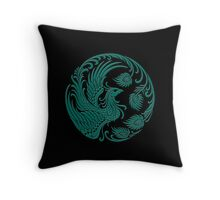 Traditional Teal Blue and Black Chinese Phoenix Circle Throw Pillow