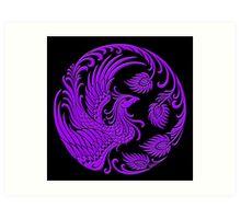 Traditional Purple Chinese Phoenix Circle Art Print