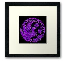 Traditional Purple Chinese Phoenix Circle Framed Print