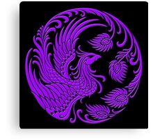 Traditional Purple Chinese Phoenix Circle Canvas Print