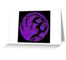 Traditional Purple Chinese Phoenix Circle Greeting Card