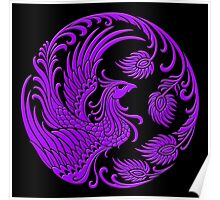 Traditional Purple Chinese Phoenix Circle Poster
