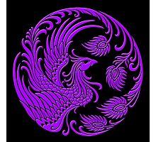 Traditional Purple Chinese Phoenix Circle Photographic Print