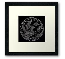 Traditional Dark Chinese Phoenix Circle Framed Print