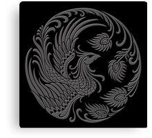 Traditional Dark Chinese Phoenix Circle Canvas Print